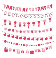Set of garlands buntings for Valentines day vector image