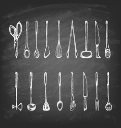 Set silhouette kitchen tools on blackboard vector