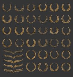 set wreaths and branches design elements vector image