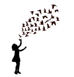 silhouette a girl with birds flying vector image