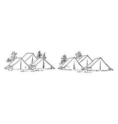 Six tent vintage vector