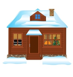 Small lodge in winter vector image vector image