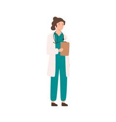 smiling female hospital medical staff standing vector image
