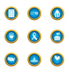 Street barbecue icons set flat style vector