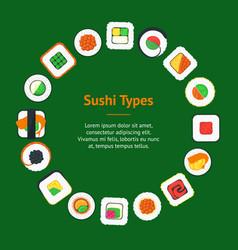 sushi banner card circle vector image