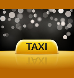 taxi car sign on bokeh background taxi cab sign vector image