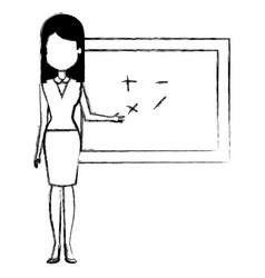 Teacher with chalkboard character vector