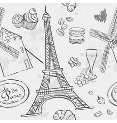 Texture with the image of the eiffel tower vector