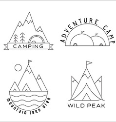 Thin Line Mountain Camp Labels and Emblems vector