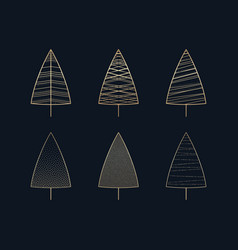 this is a set of golden icons of christmas trees vector image