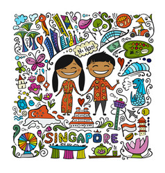 Travel to singapore greeting card for your design vector
