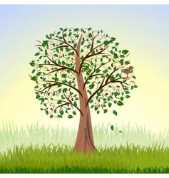 Tree at sunrise vector