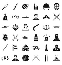 war weapon icons set simple style vector image