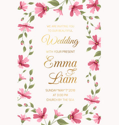 Wedding invitation card template pink gypsophila vector