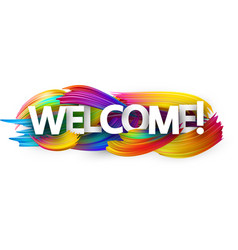 welcome paper banner with colorful brush strokes vector image