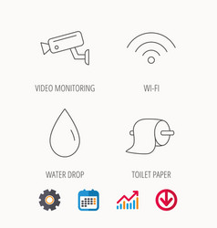 Wi-fi video monitoring and water drop icons vector