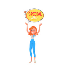 woman holding in hands sticker with special offer vector image