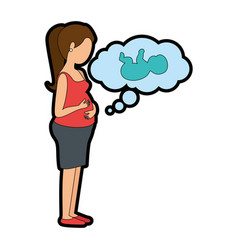 Woman pregnant with baby in dream bubble vector