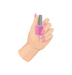 Woman s hand holding bottle of pink nail polish vector