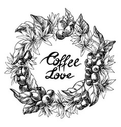 Wreath from coffee beans and berry vector