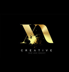 Xa x a letter logo with gold melted metal splash vector