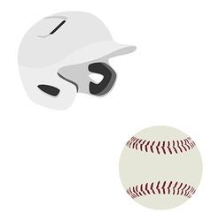 Baseball helmet and ball vector image vector image