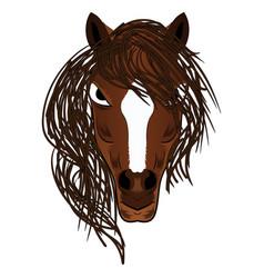 horse mascot cartoon head vector image vector image