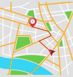 maps city arrows pin vector image