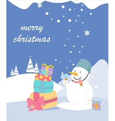Merry Christmas greeting card snowman vector image vector image