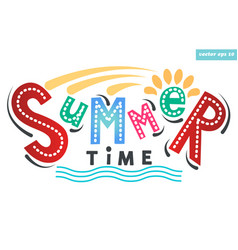 summer time lettering vector image vector image