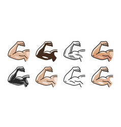 arm muscles strong hand icon or symbol gym vector image vector image