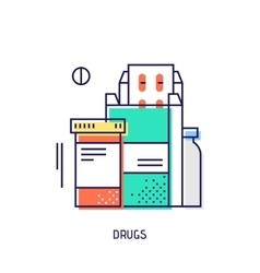 Drugs and pills Diabetes thin line icon vector image