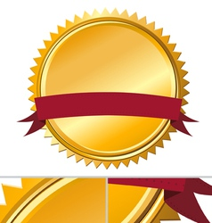 Gold Guarantee seal with message banner vector image vector image