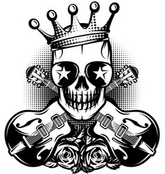 pattern with guitar skull crown for concert vector image