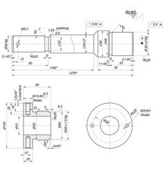 Bearing sketch with polishing engineering drawing vector