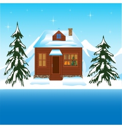 Beautiful house beside yard in winter vector image vector image