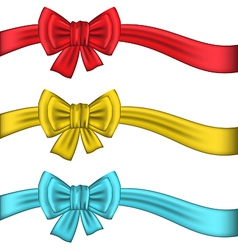 Collection colorful gift bows with ribbons vector image vector image