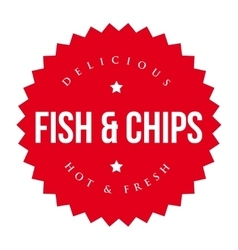 Fish and Chips vintage label red vector image