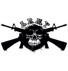 grunge skull in frame machine gun vector image vector image