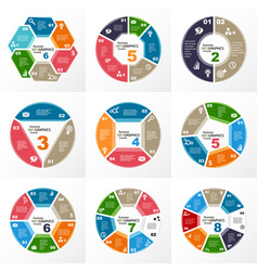 infographic template set of round elements vector image