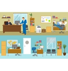Office Interior Compositions vector image vector image