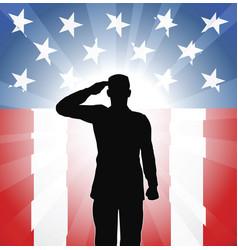 patriotic soldier salute vector image vector image