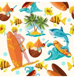 Surfing seamless background vector image vector image