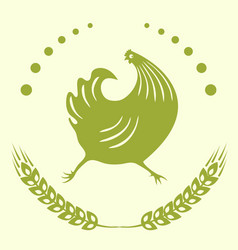 The emblem is a running cock vector