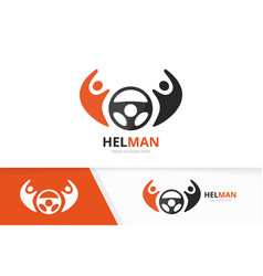 car helm and people logo combination vector image vector image