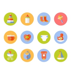 card with colorful baby icons vector image
