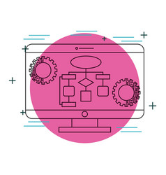 computer monitor diagram gears technology vector image