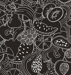 Psychedelic black and white fruit seamless pattern vector image