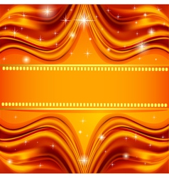red background fabric satin gold with the stars vector image vector image