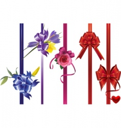 ribbons with bows and flowers vector image vector image